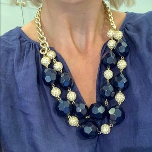 Lilly Pulitzer Navy gold Ball Necklace